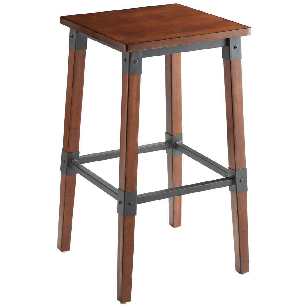 #72 - Rustic Industrial Style Backless Bar Stool with Antique Walnut Finish