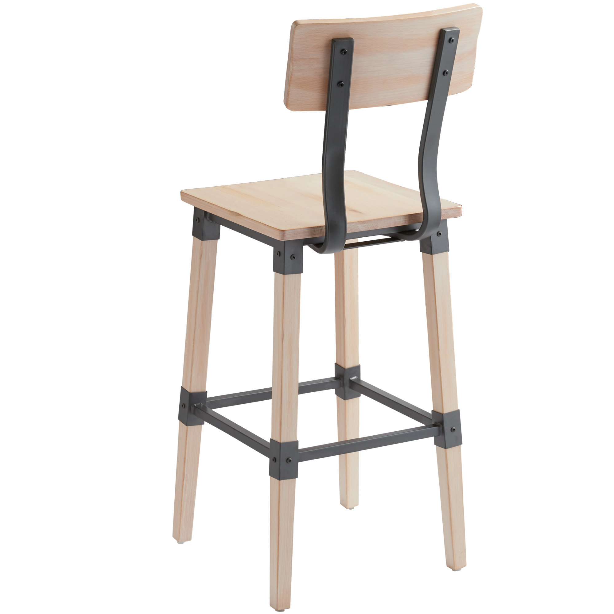 #81 - Rustic Industrial Style Bar Height Chair with White Wash Finish