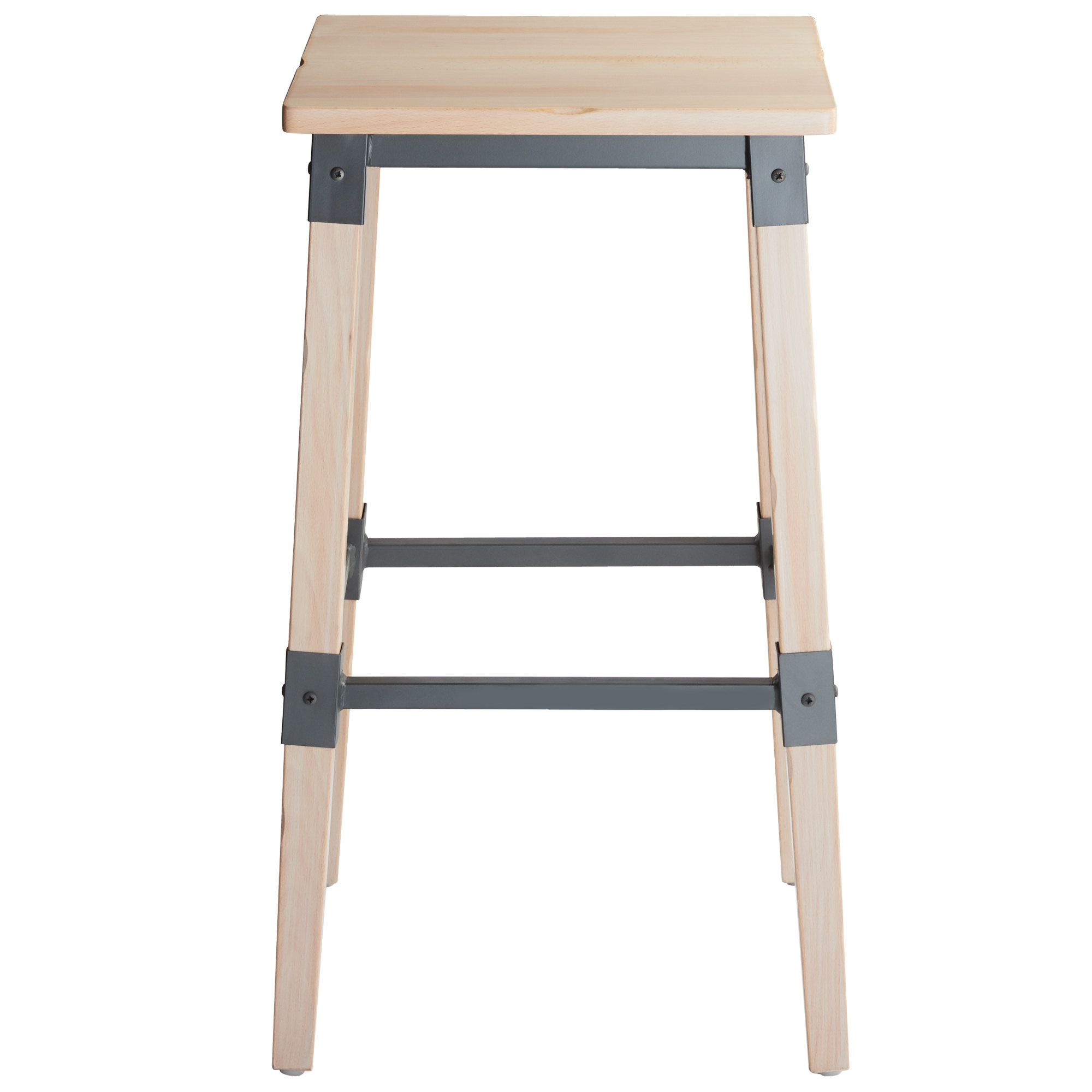 #76 - Rustic Industrial Style Backless Bar Stool with White Wash Finish
