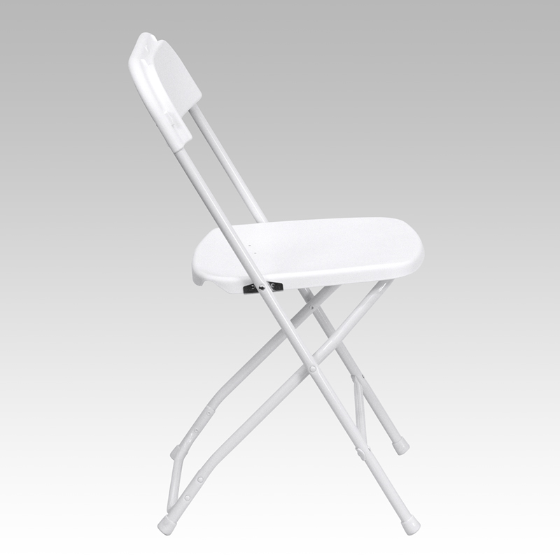#7 - 650 LBS CAPACITY WHITE PLASTIC FOLDING CHAIRS