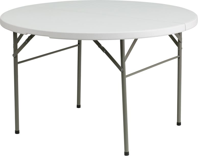 #19 - 48'' ROUND BI-FOLD GRANITE WHITE PLASTIC FOLDING TABLE