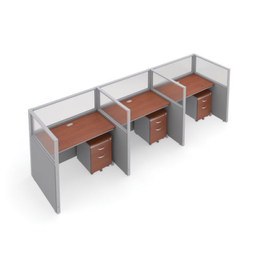 #11 - 47'' H x 48'' W Rize 3 Office Cubicle WorkStation in Gray Vinyl w/Cherry Finish