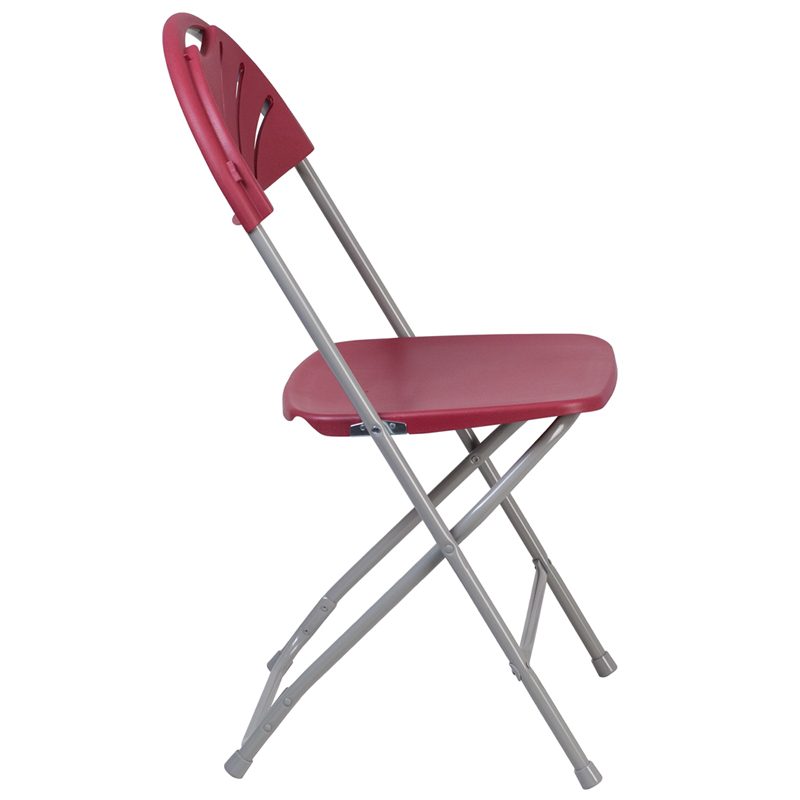 #21 - 650 LB. CAPACITY FAN BACK BURGUNDY PLASTIC FOLDING CHAIR