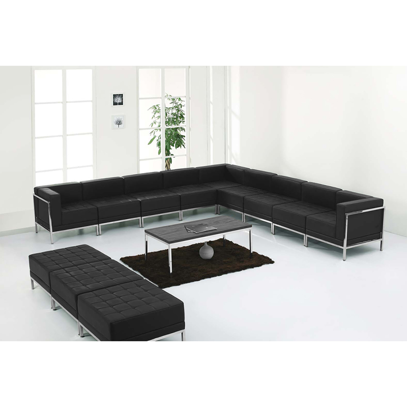 #57 - 12 Piece Imagination Series Black Leather Sectional & Ottoman Set