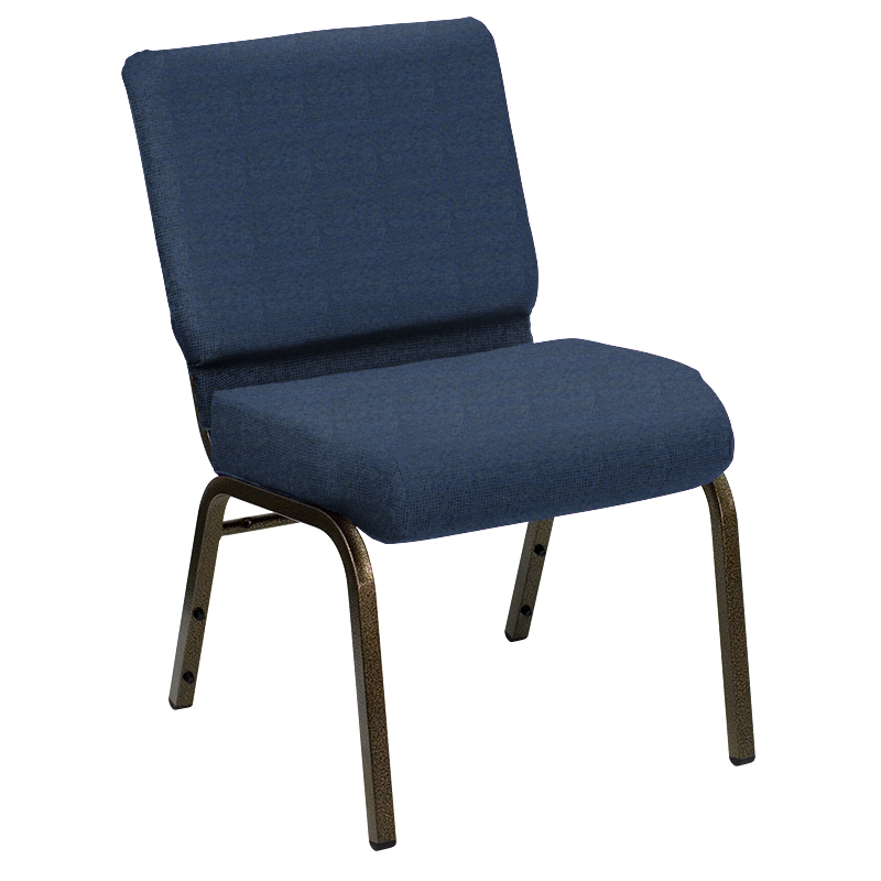 #229 - 21'' EXTRA WIDE SHIRE MARINER FABRIC CHURCH CHAIR WITH GOLD VEIN FRAME