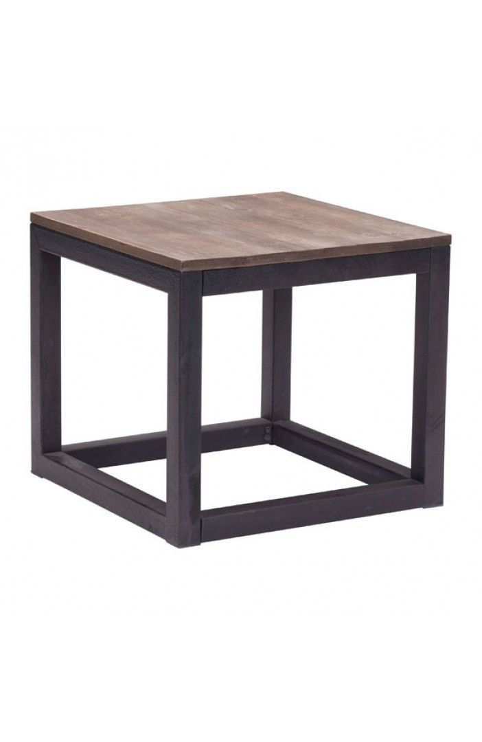 #197 - Square Side Table in Distressed Natural w/Elm Wood Planks & Antique Metal Base