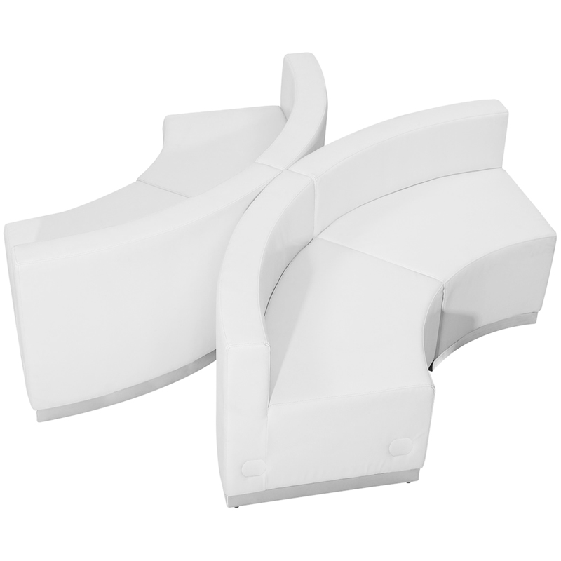 #73 - LOUNGE SERIES WHITE LEATHER RECEPTION CONFIGURATION, 4 PIECES