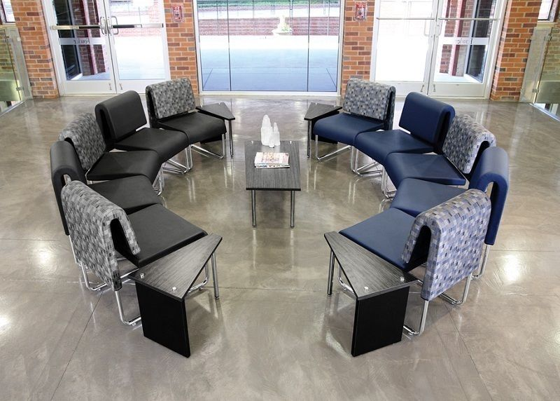 #28 - (15 PCS)UNO Series Lounge Circle Package w/Navy Chairs & Windswept Bronze Tables