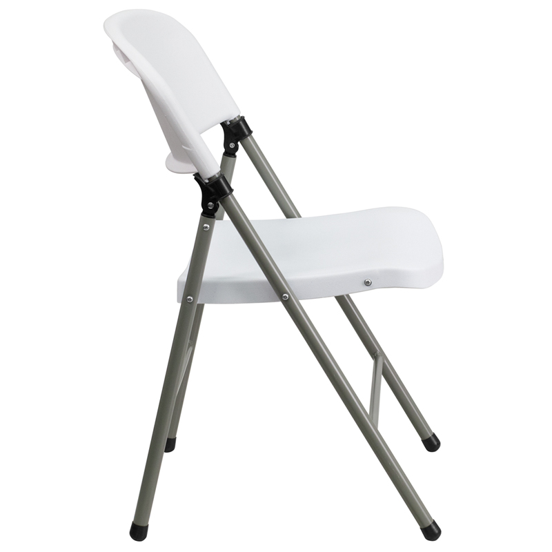 #25 - Granite White Plastic Folding Chair with Charcoal Frame