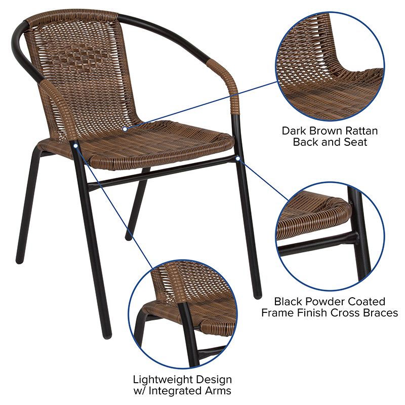 #15 - 2 PACK Indoor or Outdoor Restaurant Chair with Black Frame Finish and Dark Brown Rattan