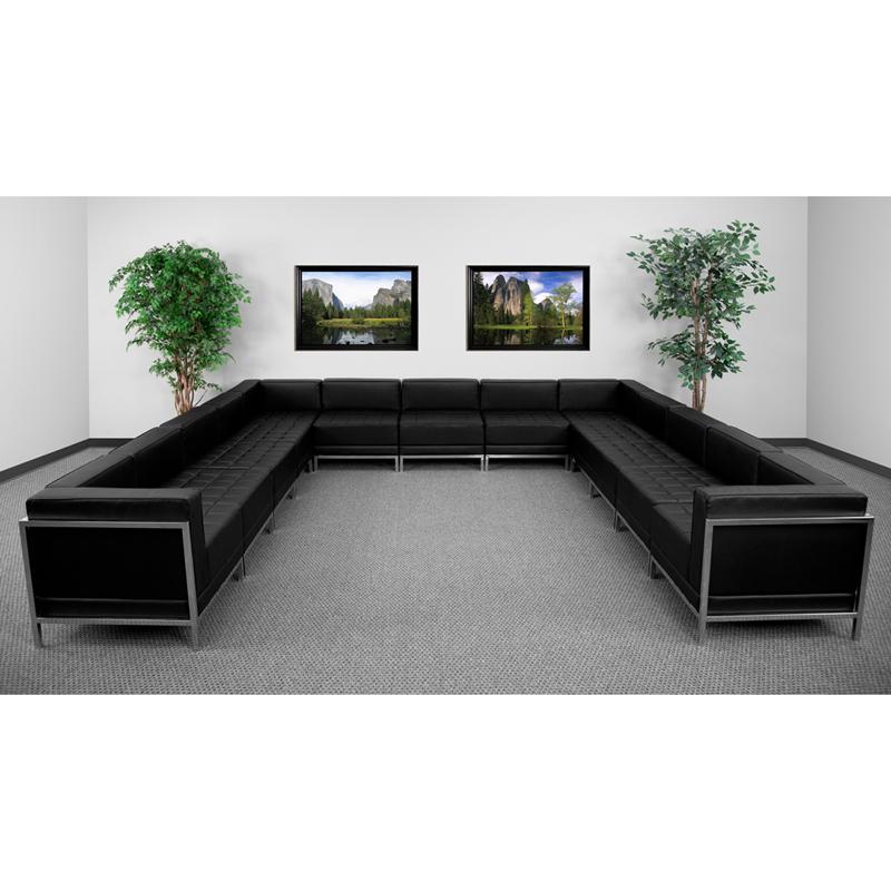 #58 - 13 Piece Imagination Series Black Leather U-Shape Sectional Configuration