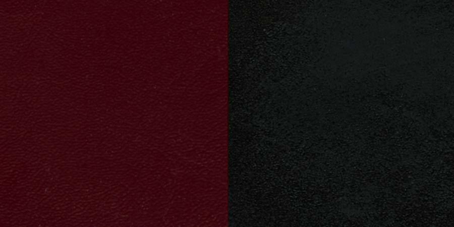 #67 - BLACK LADDER BACK METAL RESTAURANT CHAIR - BURGUNDY VINYL SEAT