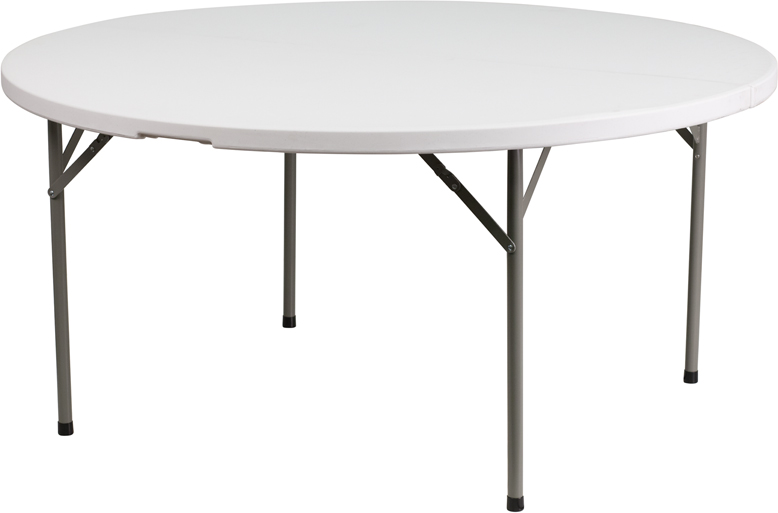 #21 - 60'' GRANITE WHITE ROUND PLASTIC FOLDING TABLE