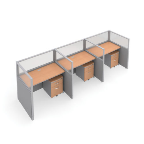 #12 - 47'' H x 48'' W Rize 3 Office Cubicle WorkStation in Gray Vinyl w/Maple Finish