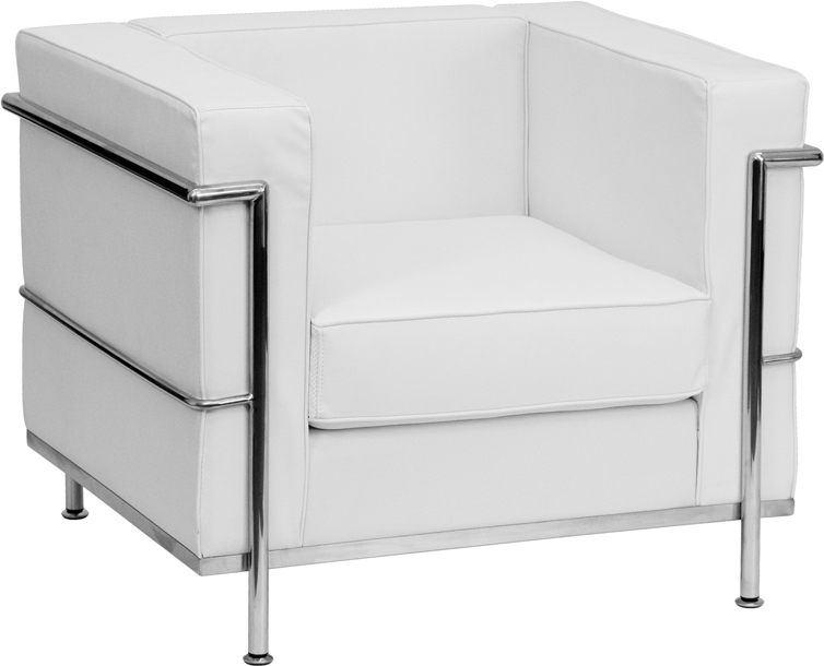 #89 - REGAL SERIES CONTEMPORARY WHITE LEATHER CHAIR WITH ENCASING FRAME