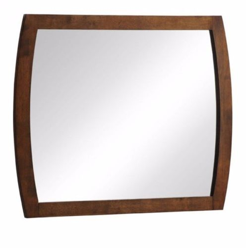 #14 -  Modern Stylish Sqaure Wall Mirror in Walnut Veneer Rubber Wood