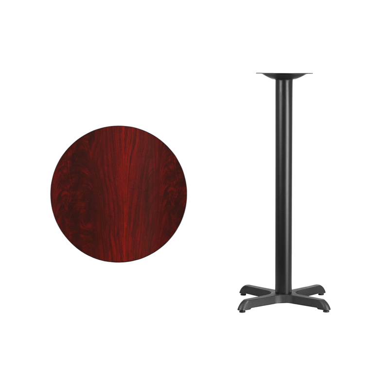 #4 - 24'' Round Mahogany Laminate Table Top with 22'' x 22'' Bar Height Base