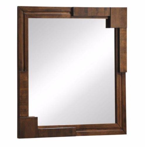 #15 - Mid-Century Modern Square Wall Mirror in Walnut Veneer Rubber Wood