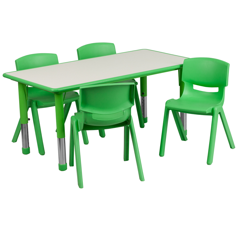 #8 - 23.625''W X 47.25''L ADJUSTABLE RECTANGULAR GREEN PLASTIC ACTIVITY TABLE SET WITH 4 SCHOOL STACK CHAIRS
