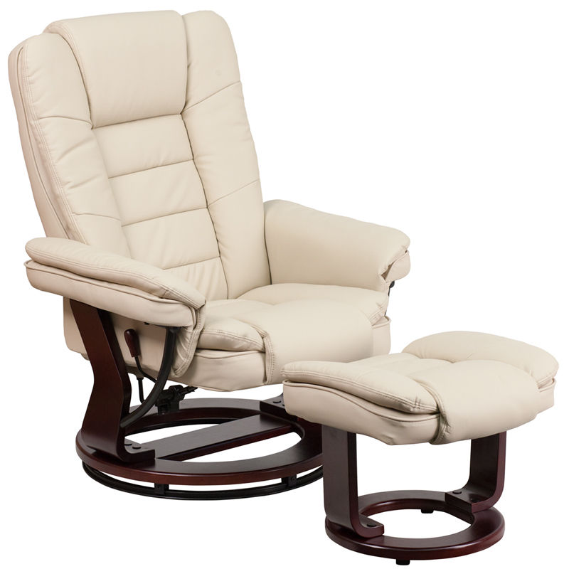 #45 - Contemporary Beige Leather Recliner and Ottoman w/ Swiveling Mahogany Wood Base
