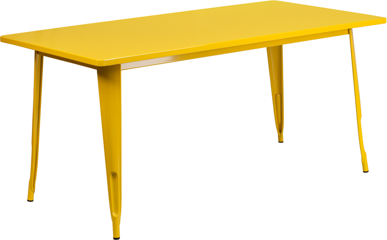 #97 - 31.5'' x 63'' Rectangular Yellow Metal Indoor-Outdoor Table Set with 6 Arm Chairs