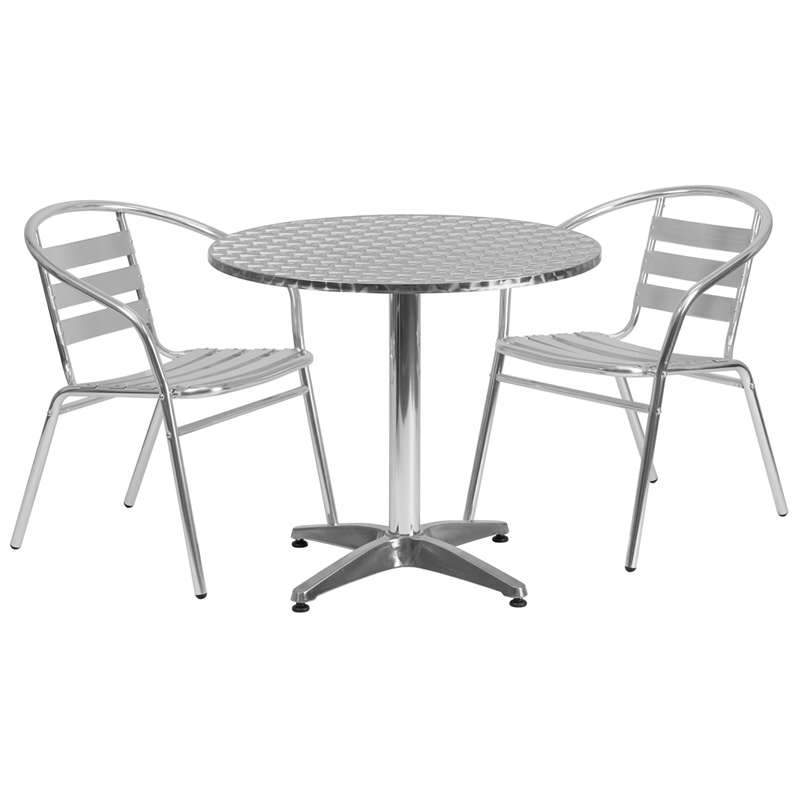 #5 - 31.5'' Round Aluminum Indoor-Outdoor Restaurant Table with 2 Slat Back Chairs