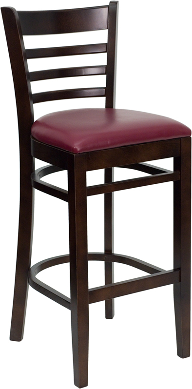 #36 - WALNUT FINISHED LADDER BACK WOODEN RESTAURANT BAR STOOL WITH BURGUNDY VINYL SEAT