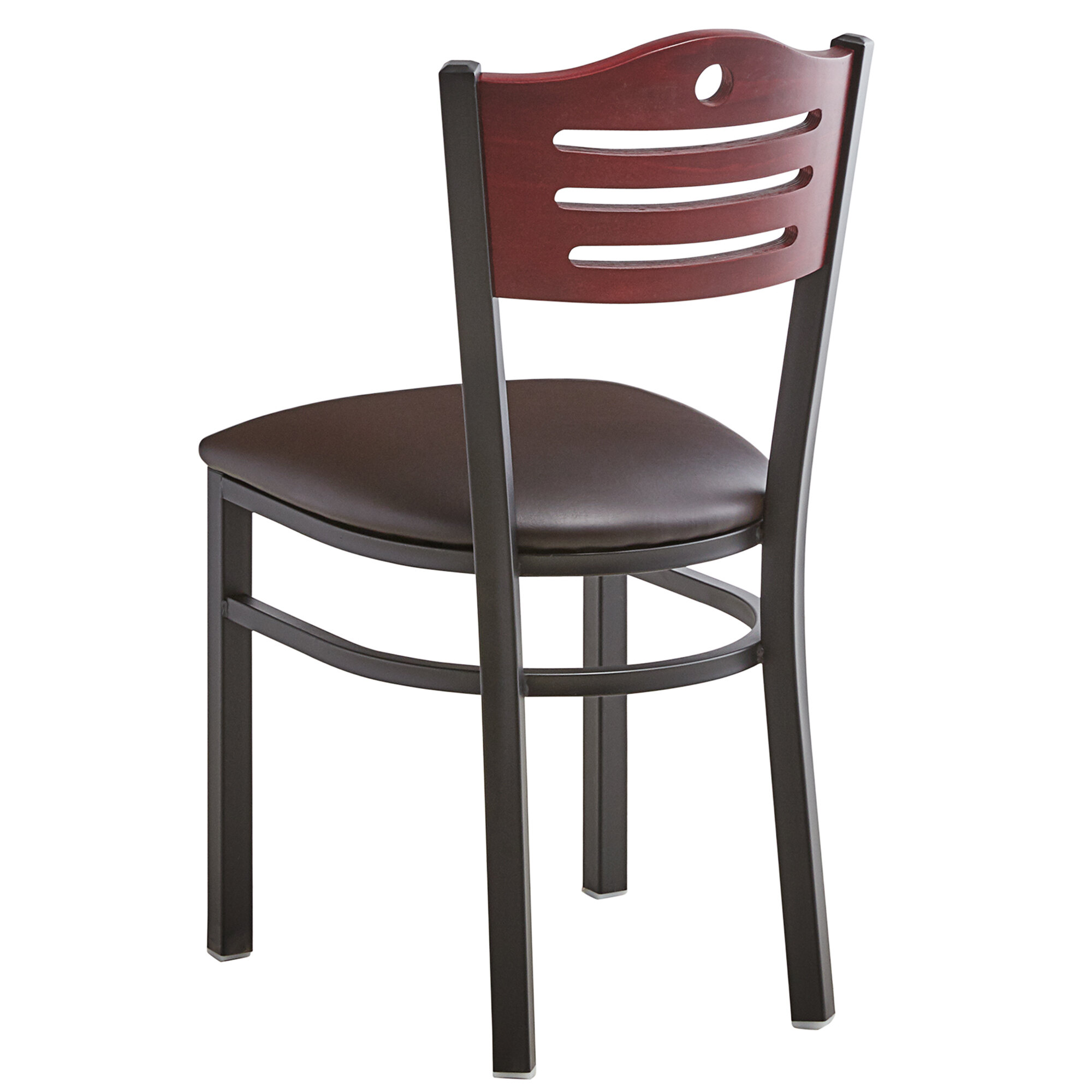 #181 - Slat Back Design Restaurant Metal Chair with Mahogany Wood Back and Dark Brown Vinyl Seat