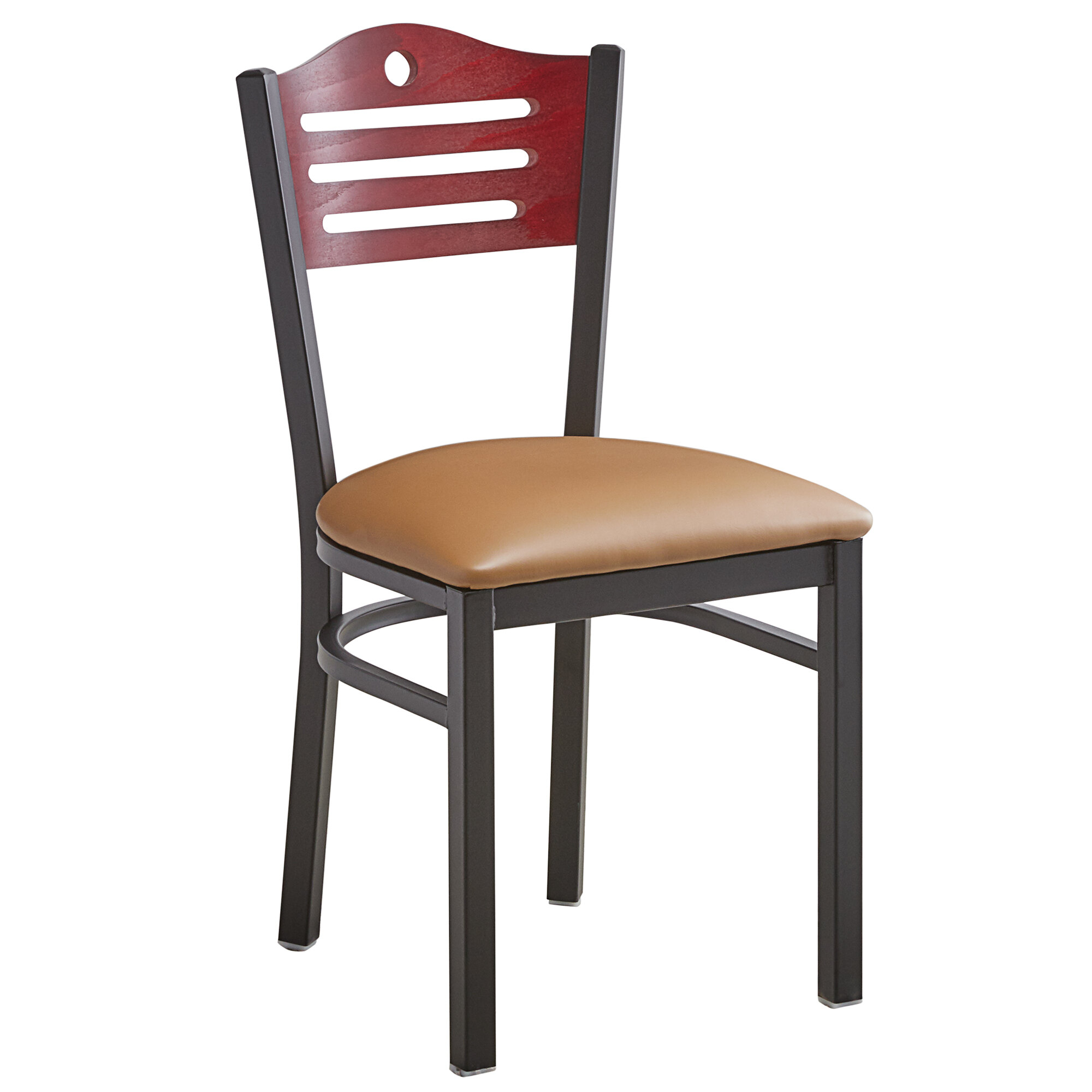 #182 - Slat Back Design Restaurant Metal Chair with Mahogany Wood Back and Light Brown Vinyl Seat