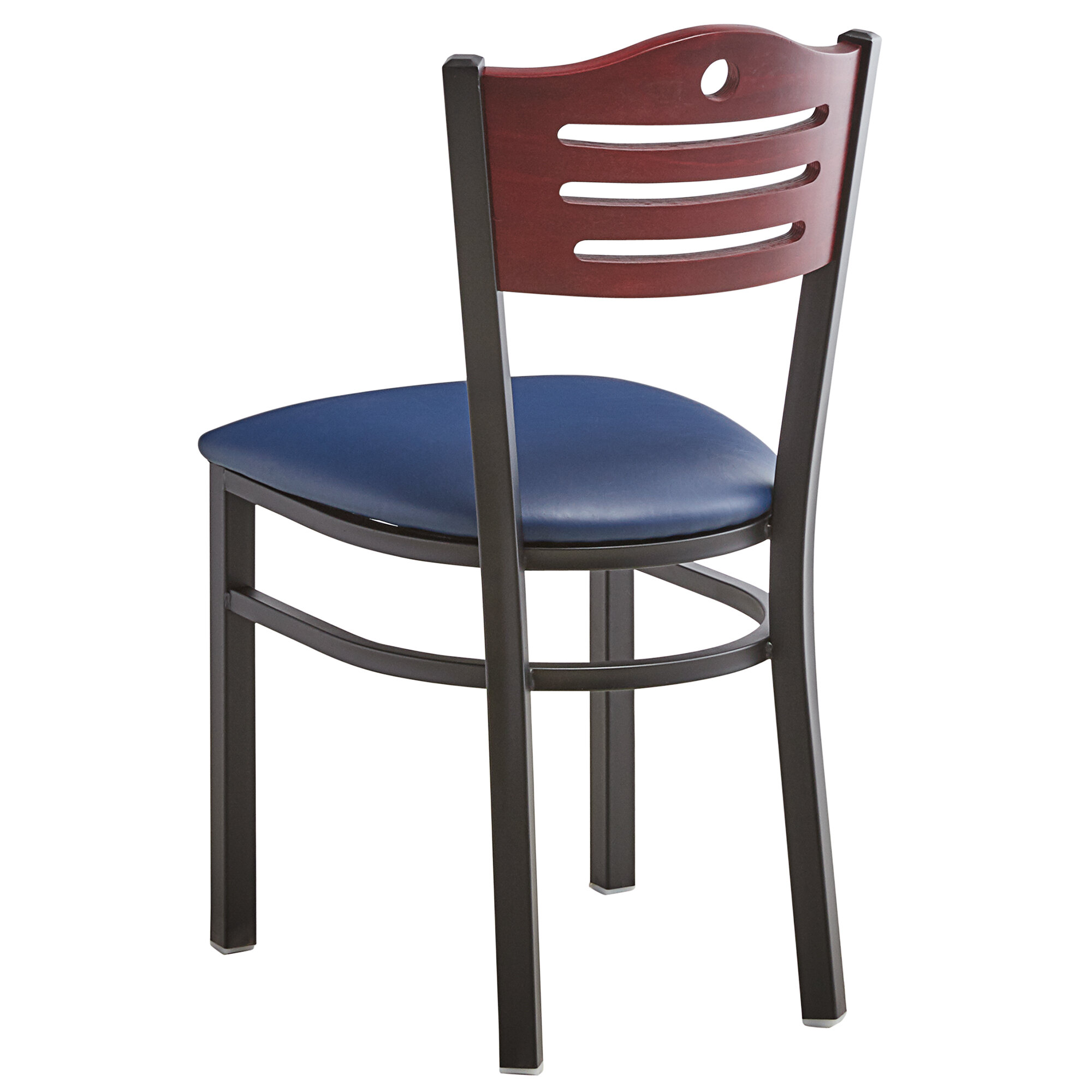 #184 - Slat Back Design Restaurant Metal Chair with Mahogany Wood Back and Navy Vinyl Seat