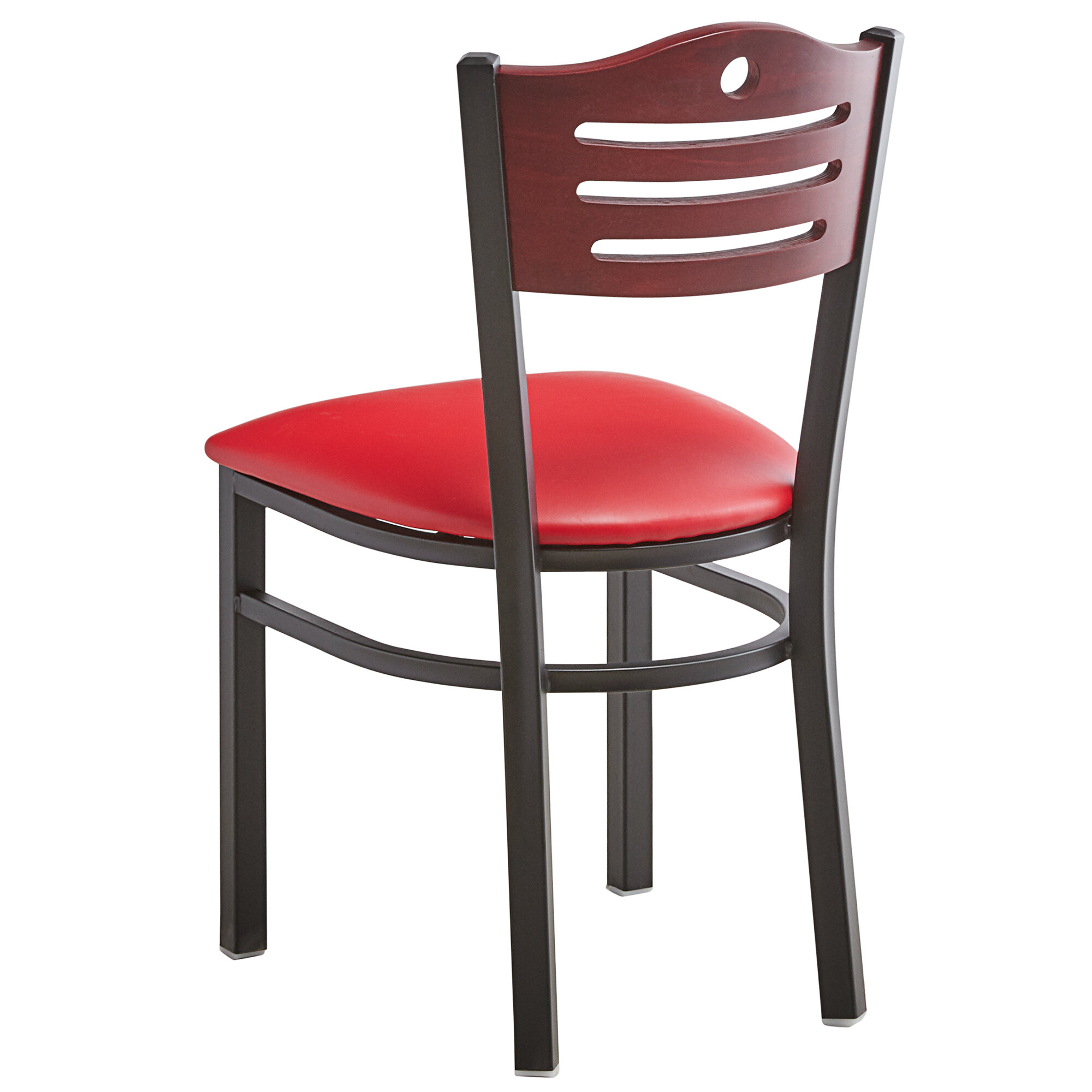 #185 - Slat Back Design Restaurant Metal Chair with Mahogany Wood Back and Red Vinyl Seat