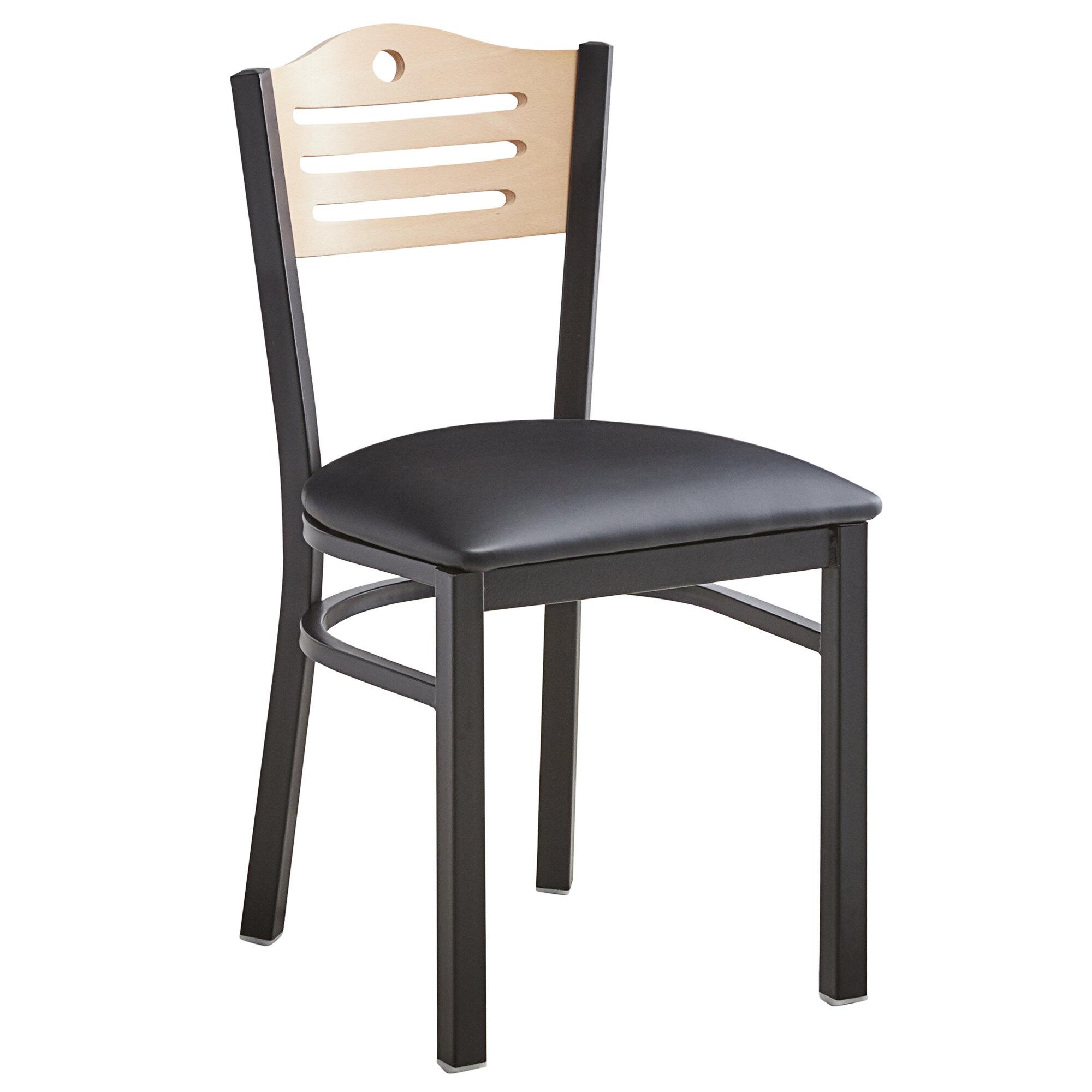 #171 - Slat Back Design Restaurant Metal Chair with Natural Wood Back and Black Vinyl Seat