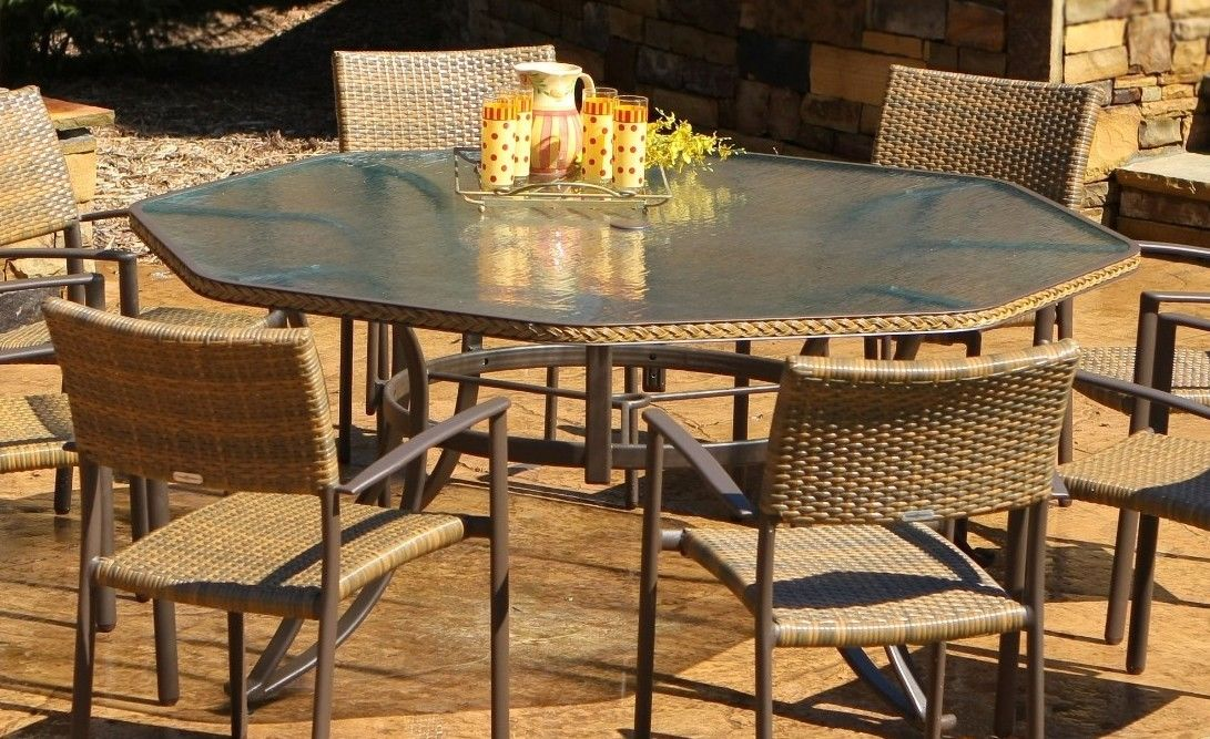 #48 - 9 Piece Outdoor Patio Garden Furniture Wicker Dining Set with Tempered Glass