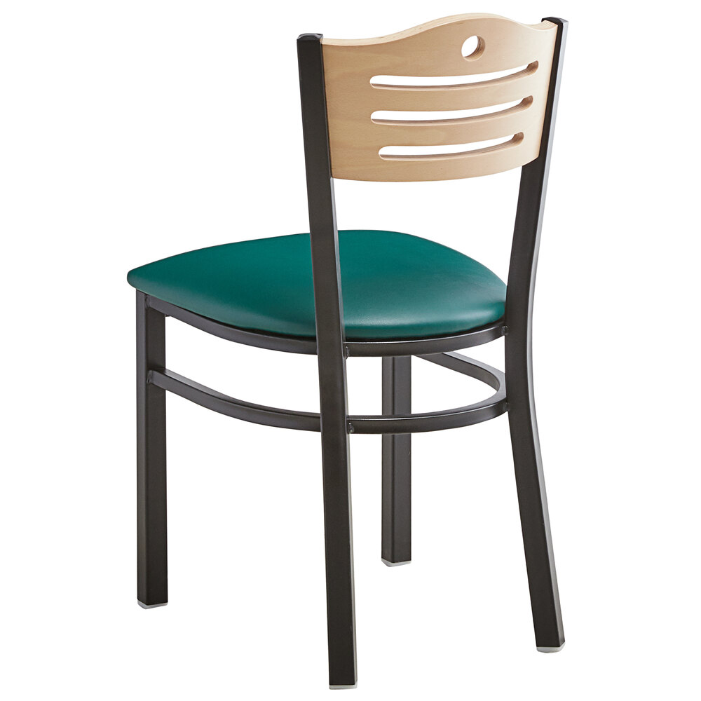 #175 - Slat Back Design Restaurant Metal Chair with Natural Wood Back and Green Vinyl Seat