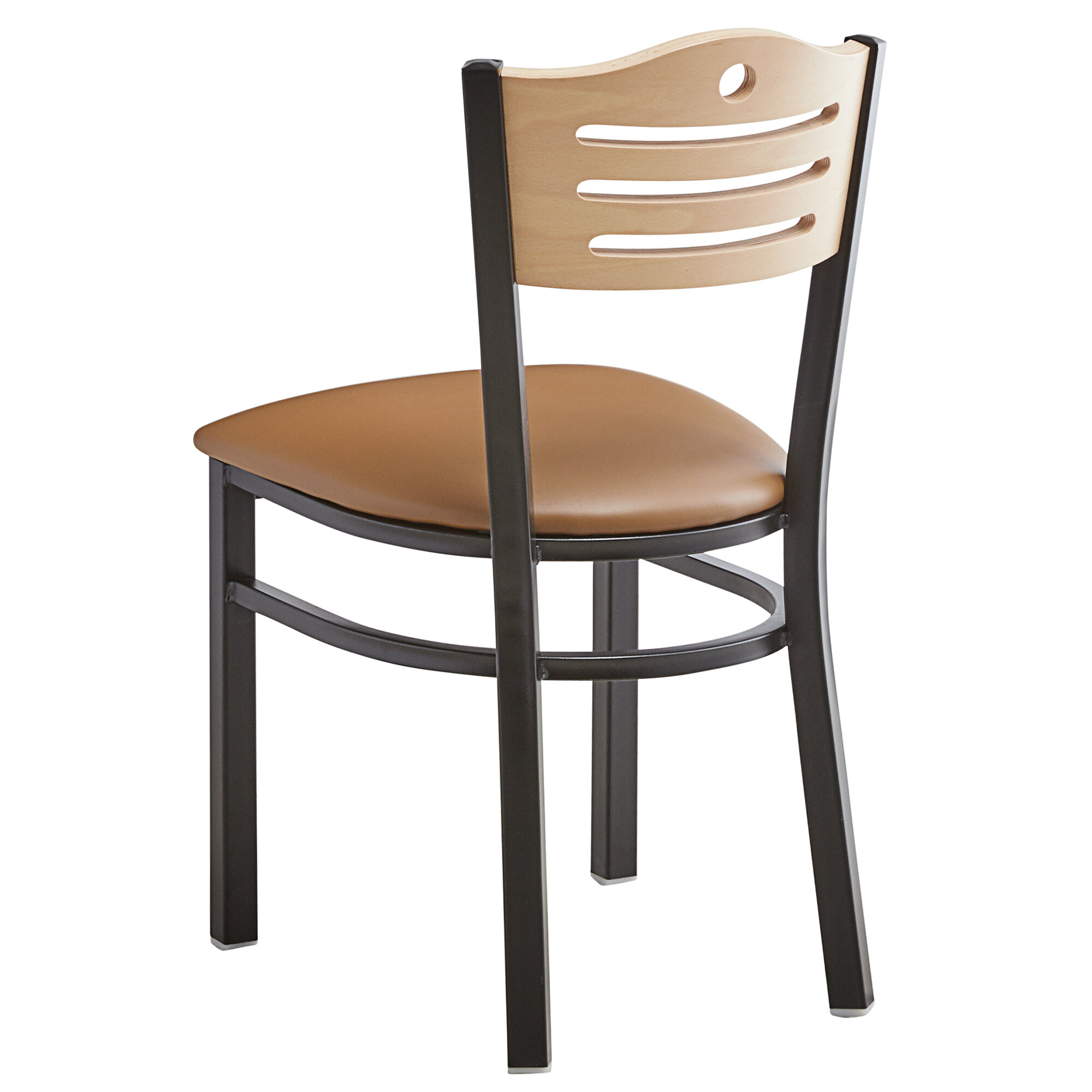 #174 - Slat Back Design Restaurant Metal Chair with Natural Wood Back and Light Brown Vinyl Seat