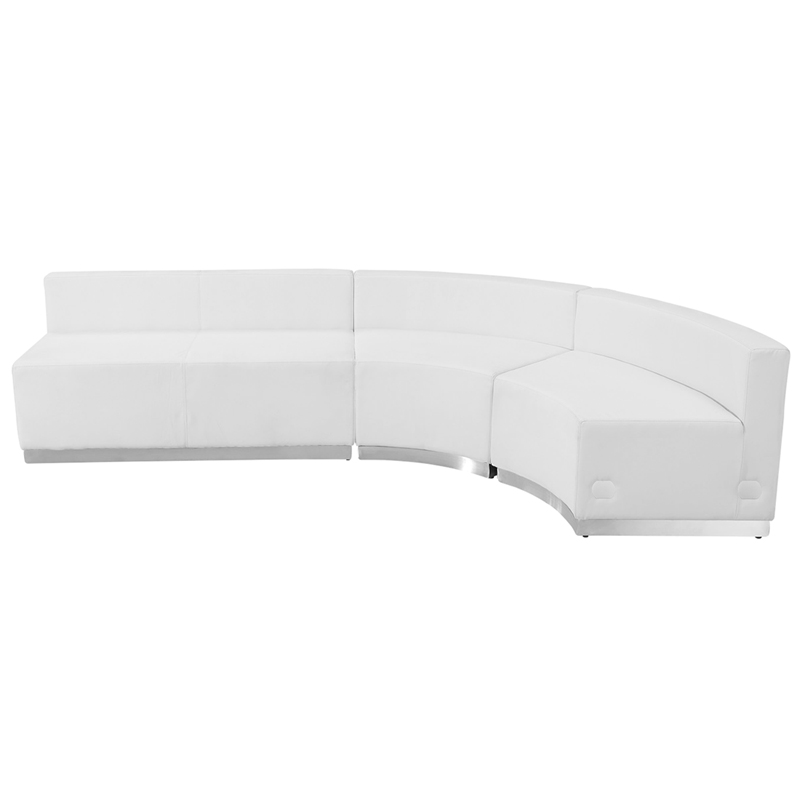 #74 -  LOUNGE SERIES WHITE LEATHER RECEPTION CONFIGURATION, 3 PIECES