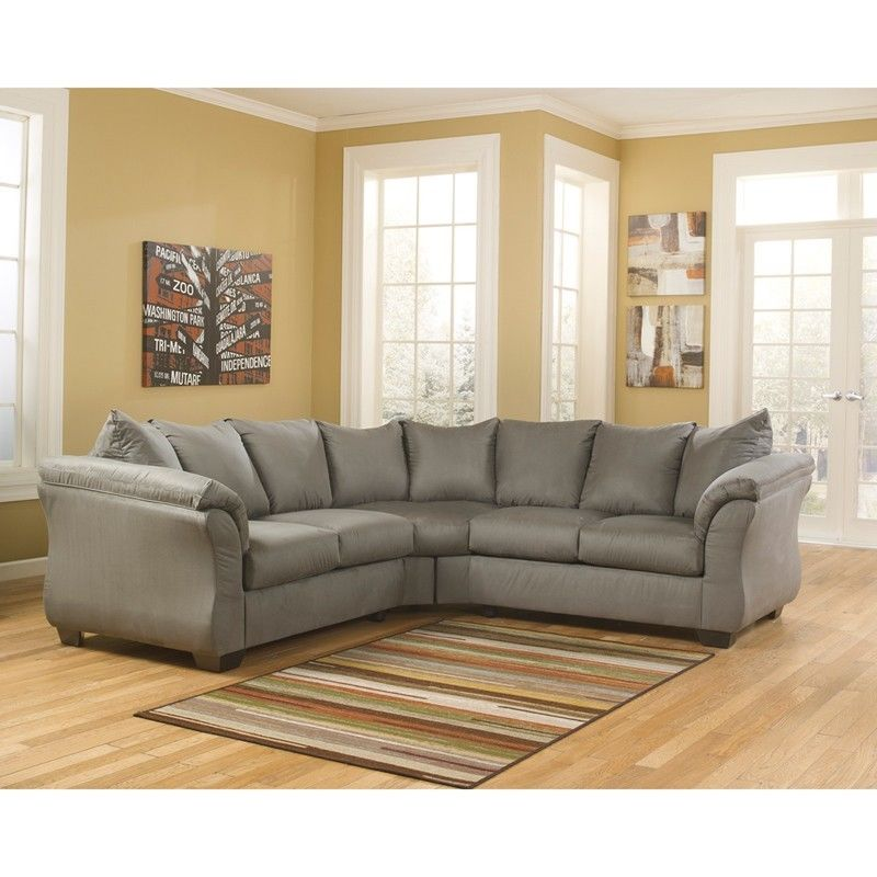 #45 - Signature Design by Ashley Darcy Sectional in Cobblestone Fabric -Sofa Sectional