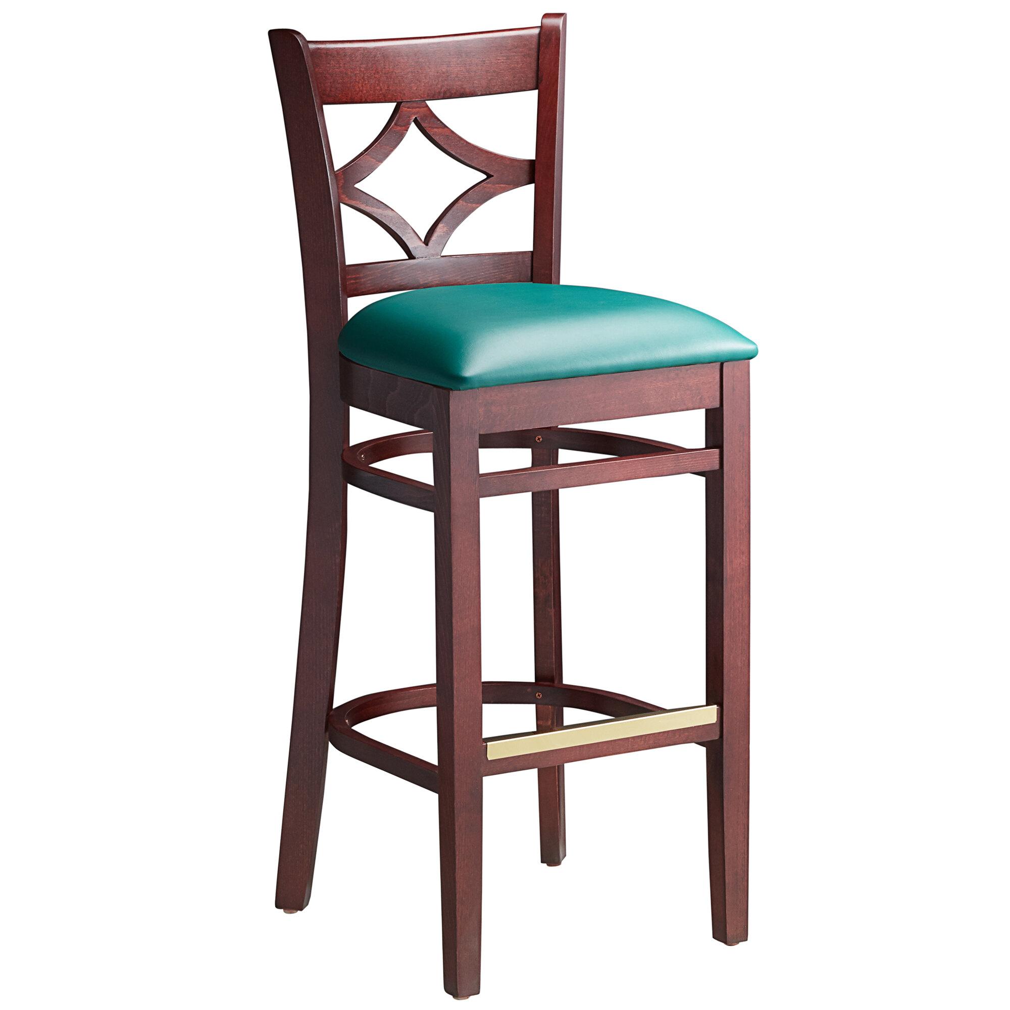 #106 - Mahogany Wood Finished Diamond Back Restaurant Barstool with Green Vinyl Seat