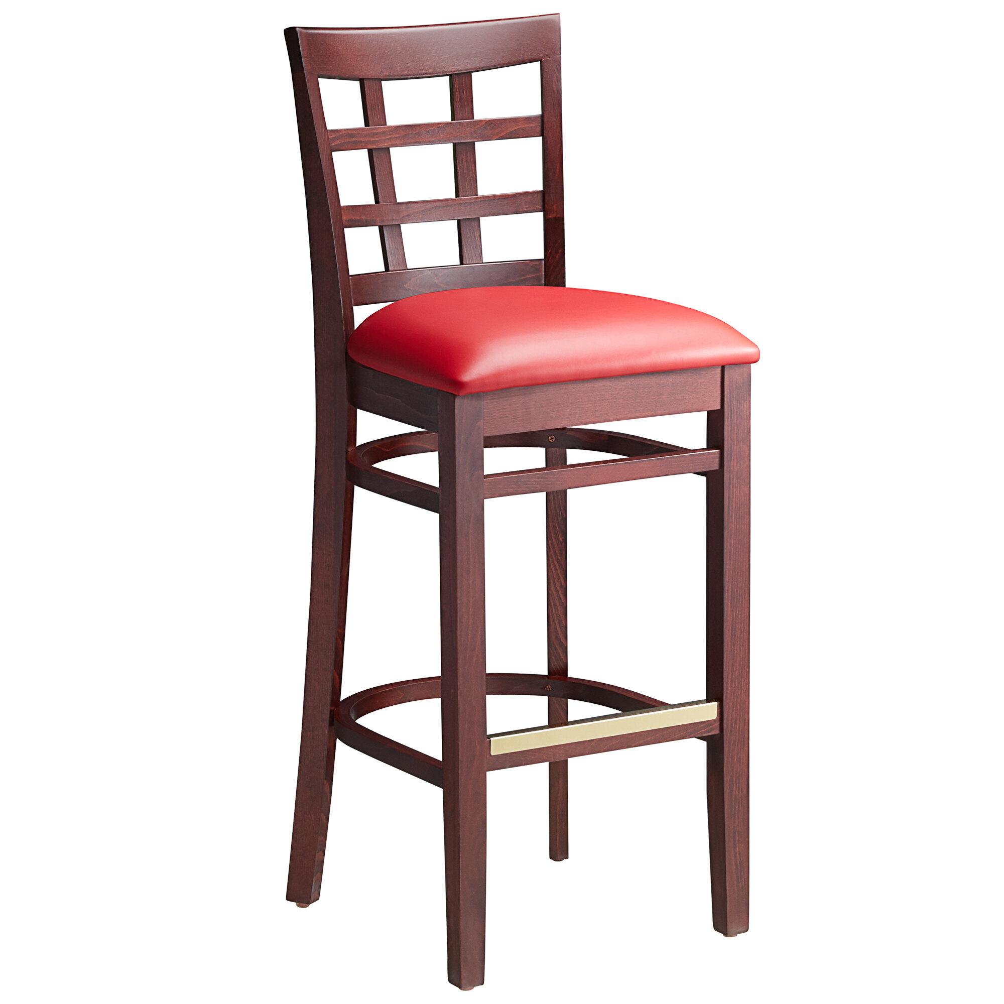 #101 - Mahogany Wood Finished Window Back Restaurant Barstool with Red Vinyl Seat