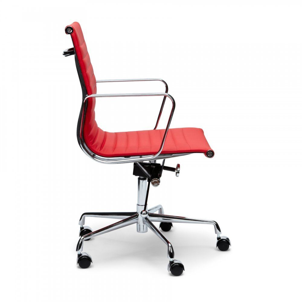 #179 - Eames Style Mid Back Red Ribbed Genuine Italian Leather Conference Chair