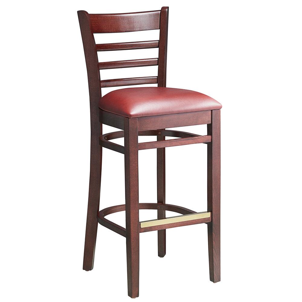#64 - Mahogany Wood Finished Ladder Back Restaurant Barstool with Burgundy Vinyl Seat