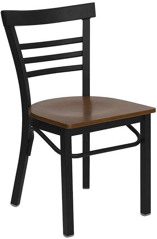 #60 - BLACK LADDER BACK METAL RESTAURANT CHAIR - CHERRY WOOD SEAT