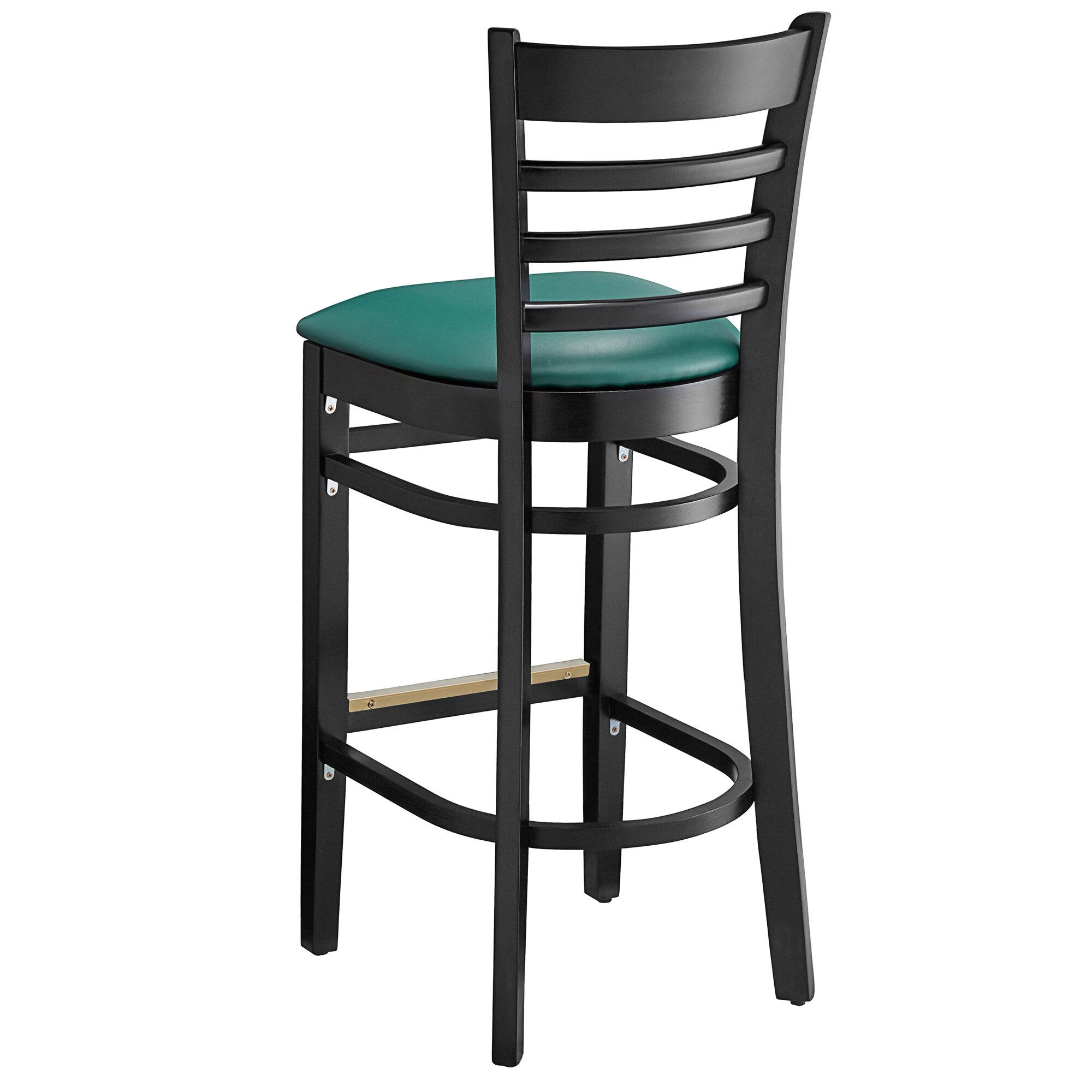 #82 - Black Wood Finished Ladder Back Restaurant Barstool with Green Vinyl Seat