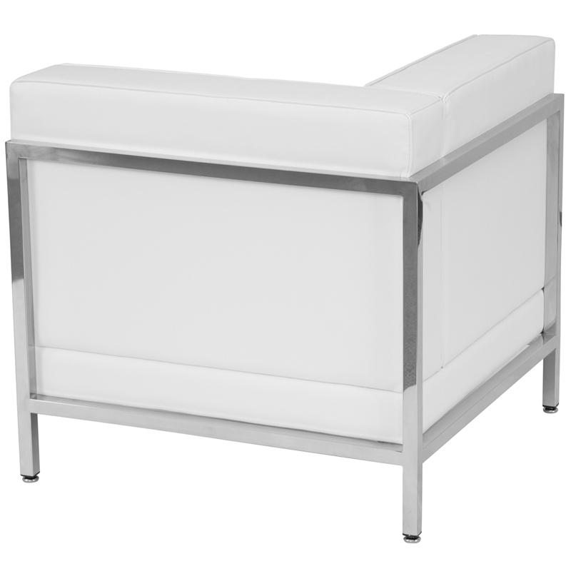 #60 - 3 Piece Imagination Series White Leather Corner Chair Set