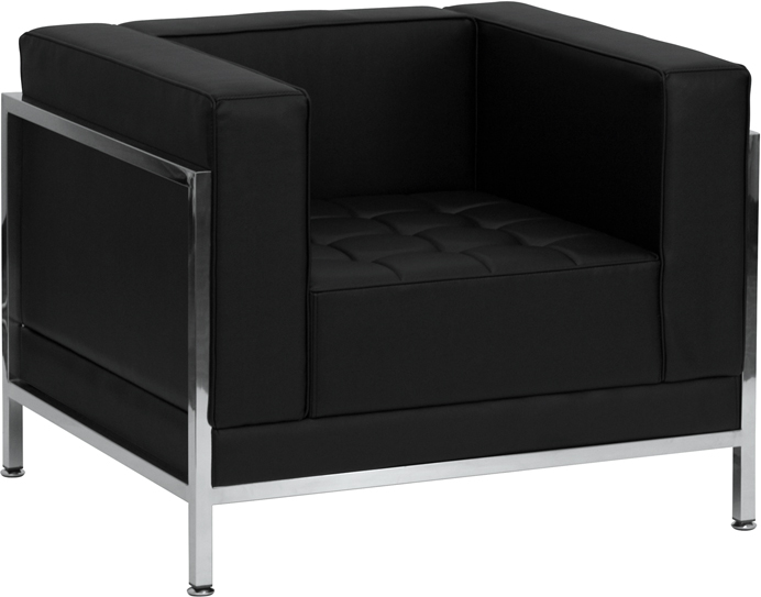 #90 - IMAGINATION SERIES CONTEMPORARY BLACK LEATHER CHAIR WITH ENCASING FRAME