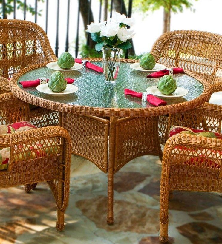 #28 - 5 Pcs Outdoor Patio Southwest Amber Resin Wicker Dining Set w/ Mauna Loa Fabric