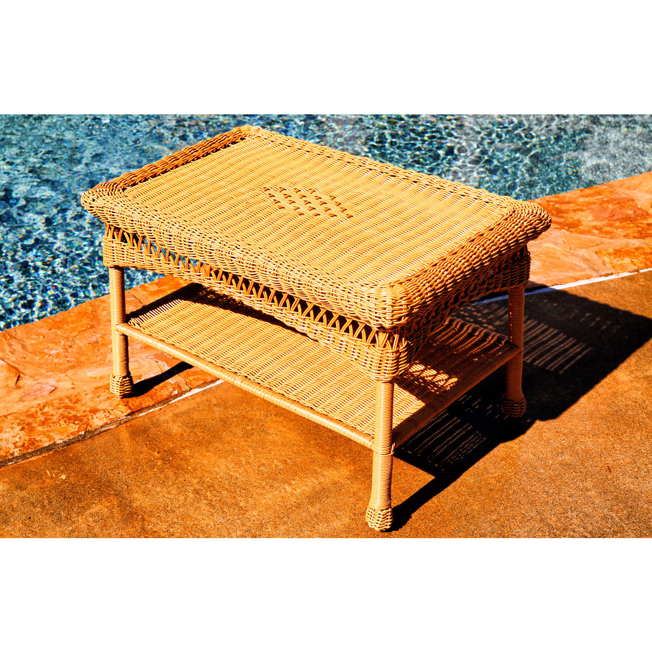 #212 - Outdoor & Indoor Stylish Hand Woven Resin Wicker Coffee Table in Amber
