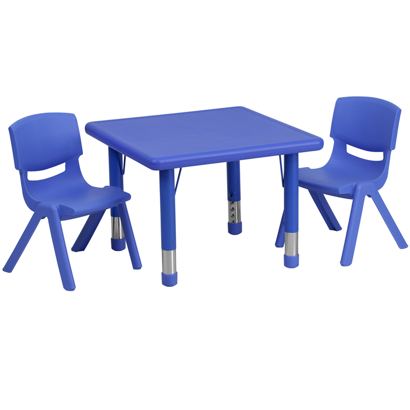 #19 - 24'' SQUARE ADJUSTABLE BLUE PLASTIC ACTIVITY TABLE SET WITH 2 SCHOOL STACK CHAIRS