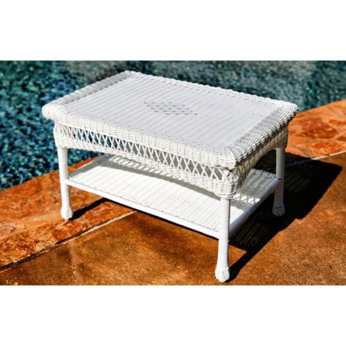 #213 - Outdoor & Indoor Stylish Hand Woven Resin Wicker Coffee Table in White