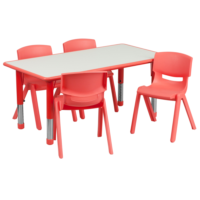 #9 - 23.625''W X 47.25''L ADJUSTABLE RECTANGULAR RED PLASTIC ACTIVITY TABLE SET WITH 4 SCHOOL STACK CHAIRS
